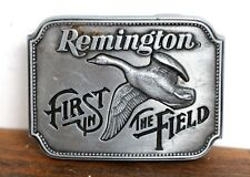 "VINTAGE Remington 1980 Canada Goose *First in the Field* BELT BUCKLE Sz 2""x2.5"""