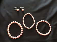 Honora 3 Stretchy Peachy-Pink Ringed Pearls Bracelets + Matching Dangle Earrings