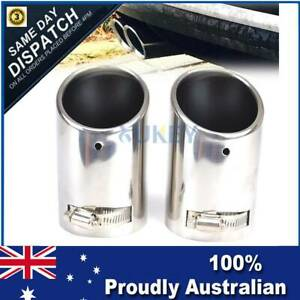 X2 Car Universal S'Steel Chrome Exhaust Rear Tail Muffler Tip Pipe End Trim Dual