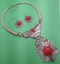 """Red Turquoise 925 Sterling Silver Overlay Necklace & Earrings Set 20 """"Inch JU2"""