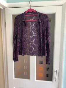 Phase Eight Luxurious Purple Embellished Lace Blouse Shirt  Jacket Size 12