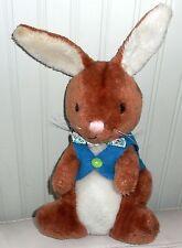 "VINTAGE DAKIN Bunny Rabbit Plush Stuffed Brown Jacket Bow Tie 1974 14"""