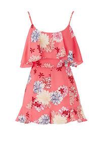 BB Dakota Women's Romper Pink US Size 8 Floral Print Ruffle Popover $90- #840
