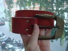 Women' Vintage Red Suede Leather Belt with Bronze Tone Metal Buckle