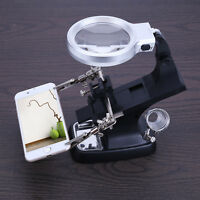 10LED bracket clip hand power Helping Magnifying Glass welding magnifier tool