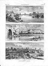 Endiguement du Rhône Pont d'Avignon / Arles / Beaucaire & Tarascon GRAVURE 1882