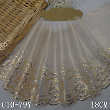 """1 Yard Gold Floral Embroidered Lace Trim Tulle Chochet For DIY Craft Wide 7"""""""