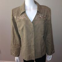 Sag Harbor Blazer Size 14 Womens Brown Button Up Dress Jacket Top Shoulder Pads