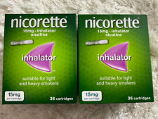 2 X Nicorette Inhalator 15mg 36 Cartridges. Total 72