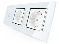 LIVOLO Dimmer Lichtschalter Steckdose Glas Touch C701D/C7C1EU/C7C1EU-11 3fach