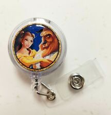 Disney 2017 BEAUTY AND THE BEAST, Retractable Badge Name  Holder, Glitter Dome