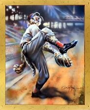 Dog Playing Old Time Baseball Motivational Wall Decor Framed Picture Art (18x22)