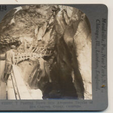 Boy Wooden Walkway Box Canyon Ouray CO Keystone Stereoview c1900