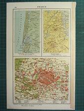 1921 MAP ~ FRANCE ~ PART OF THE MOORS AUVERGNE ~ PARIS CITY PLAN