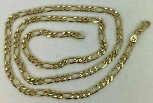 "ESTATE 14k Yellow Gold Figaro Chain Necklace 24"" 4.7mm"