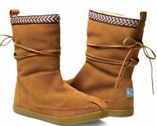 26e96981c396 NEW TOMS  NEPAL  BOOTS Suede Ankle Boots Faux Shearling Chestnut Brown  Women s 5