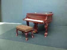 "DOLLHOUSE GRAND PIANO W/ STOOL/ ""THE PLATINUM COLLECTION""/MAHOGANY"