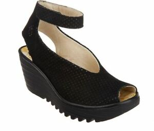 FLY London Perforated Leather Wedge Sandals Yala Perf Black