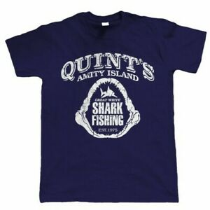 Quints Fishing Shark Jaws, Mens T Shirt - Movie Inspired Gift for Dad Him