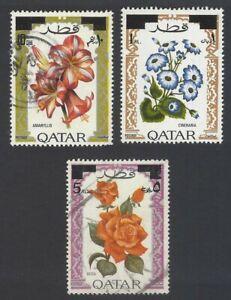 AOP Qatar 1972 Flowers set of 3 used SG 399-401 £7.50