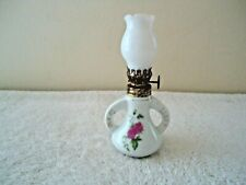 """Vtg Made In Hong Kong Miniature Floral Themed Oil Lamp With Globe """" Beautiful """""""
