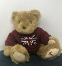 Harrods Knightsbridge Plush Teddy Bear w/ British Union Jack Flag on Red Sweater