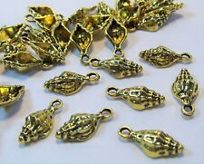 Gold Sea Shells-Ocean-Beach-Summer -Charms-50 Pcs-Drops-Jewelry Making Supplies