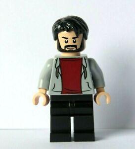 LEGO Flesh Minifigure Figure Boy Man Grey Hoody Hoodie Black Beard Hair
