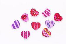 Pink Purple Heart Wood Button Mix Lot Deco Stripe Dot Children Baby Floral 20pcs