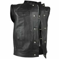 MEN'S SON OF ANARCHY LEATHER MOTORCYCLE VEST W/2 GUN POCKETS SINGLE PANEL BACK