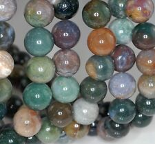 """14MM SANCTUARY INDIAN AGATE GEMSTONE GREEN BROWN ROUND 14MM LOOSE BEADS 8"""""""