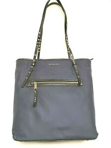 Michael Kors Leila Extra Large Navy Blue Tote Silver MSRP: $228 Sept19-4