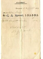 Antique Letterhead G.A.Sproul Dentist Springhill Nova Scotia 1921