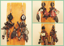 3 Handmade Beaded Black Multi Color BOHO Chandelier Dangle Earrings 3 COLORS