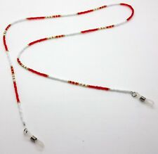 NEW BEADED GLASSES NECK CHAIN SAFETY CORD STRAP SPECS HOLDER RED WHITE & GOLD