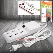 Wall Power Adapter Charger w/6x USB Port for Galaxy S4/S5/Note 2 3/HTC ONE M7 M8