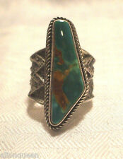 SALE Signed NAVAJO Turquoise Sterling Silver TUFA Cast RING Kevin Yazzie sz 9.75