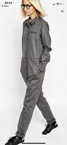 Asos Button Through Grey Wool Jumpsuit BNWT Size 12