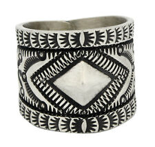 Herman Smith, Ring, Sterling Silver, Stamped Design, Navajo Handmade, 10