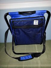 Portable small fold up camping chair insulated storage bag over shoulder strap