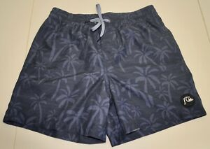 Quiksilver board shorts swim trunks Size 28 blue palm trees tropical recycled