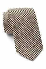 ALEXANDER OLCH Narrow Grid Wool Necktie in Tan NWT Made in USA