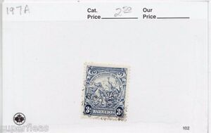 1938 Barbados #197A Θ used VF 3p Seahorses, King & trident postage stamp