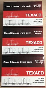 9x Revolution 35t Class B Tank Wagons. Black Texaco Branding.
