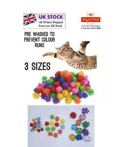 Cat toys Pom Pom Tinsel Balls 3 sizes for Kittens 1.5cm Cats 2.2cm & 2.5-2.7cm