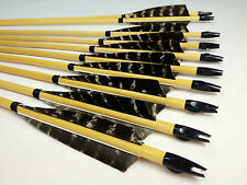 12PK Handmade Wood Arrows Traditional Eagle Fletching Arrow Recurve Compound Bow