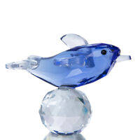 Blue 3D Crystal Cut Paperweights Dolphins Figurine Glass Xmas Wedding Decor Gift