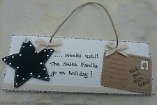 * HANDMADE HOLIDAY COUNTDOWN PLAQUE - PERSONALISED - NAMES/HOLIDAY DESTINATION*