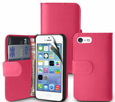 PINK Plain Wallets Case Cover with Card Slots&clip for Apple iPhone 5/5S