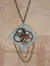 Steampunk Necklace Vintage Style Filigree Gears Cogs Mask Multiple Chains OOAK